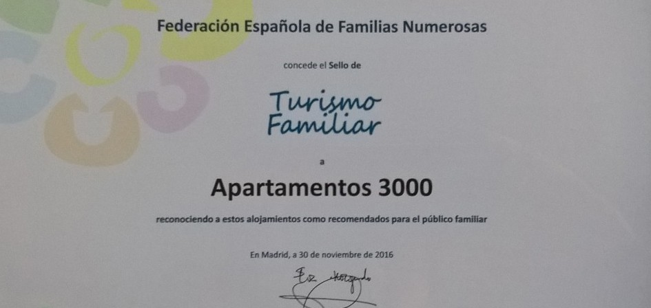 Diploma Sello Turismo Familiar Apartamentos 3000