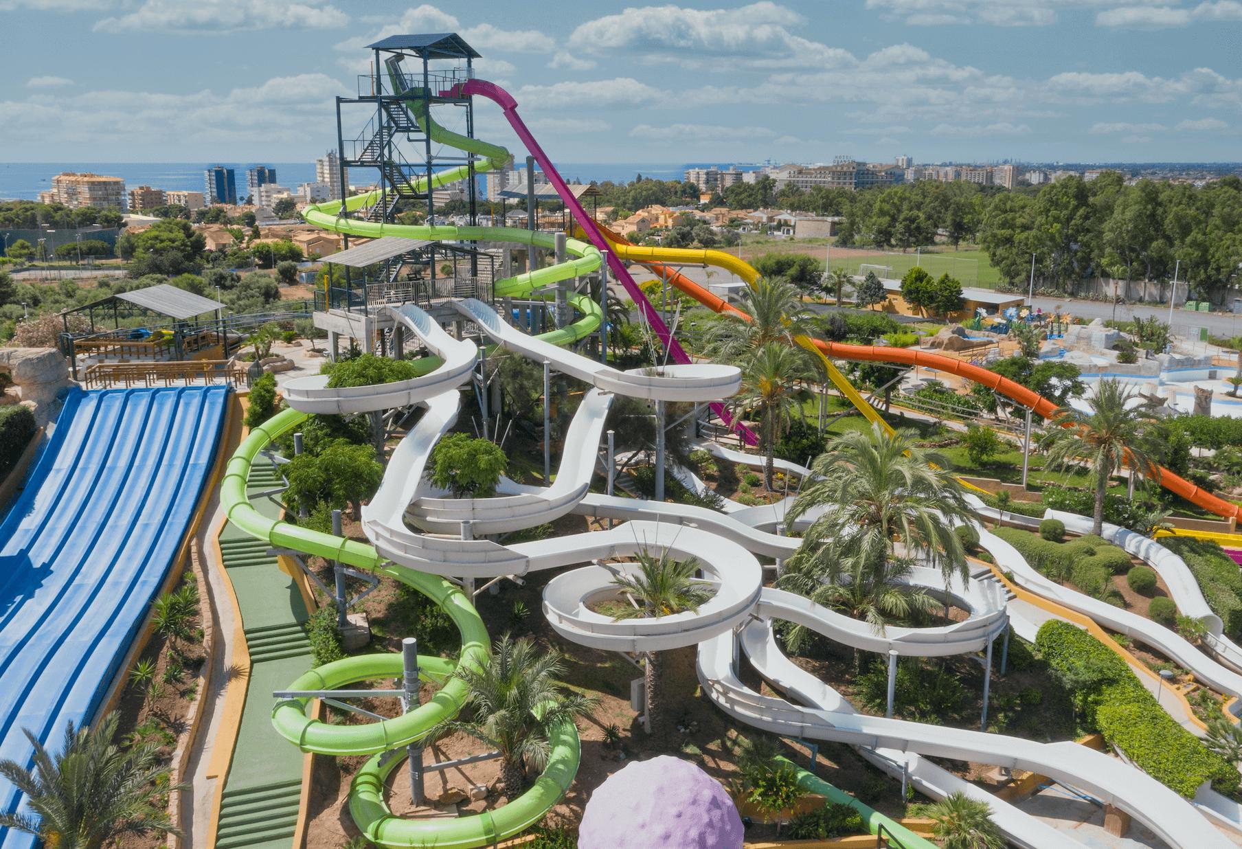 Fotografía aérea del Parque Acuático Aquarama, Benicàssim