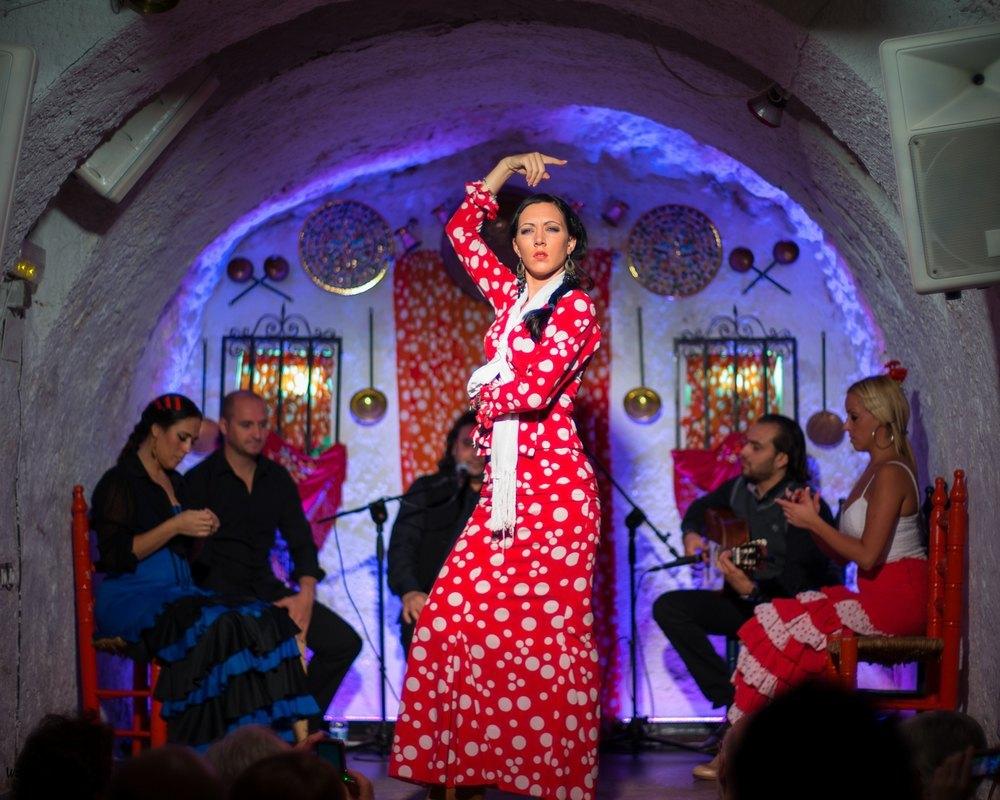 Fotografía de espectáculo de flamenco en las cuevas del Sacromonte, Granada