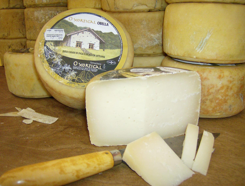 Fotografía de los quesos de la Quesería artesanal O Xortical, Villanúa